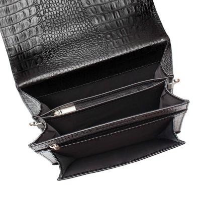 Портфель вертикальный из натуральной кожи Gilbert Black Caiman