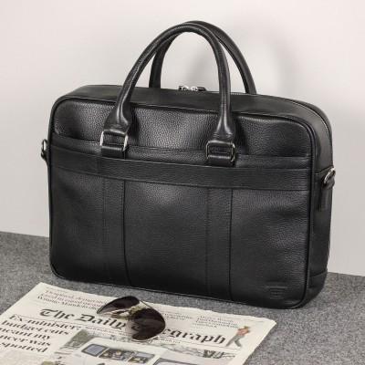 Функциональная мужская деловая сумка BRIALDI Overton (Эвертон) relief black