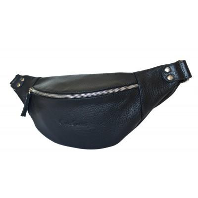 Кожаная поясная сумка Carlo Gattini Belfiore black (арт. 7003-01)