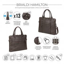 Мужская деловая сумка SLIM-формата для документов BRIALDI Hamilton (Гамильтон) relief brown