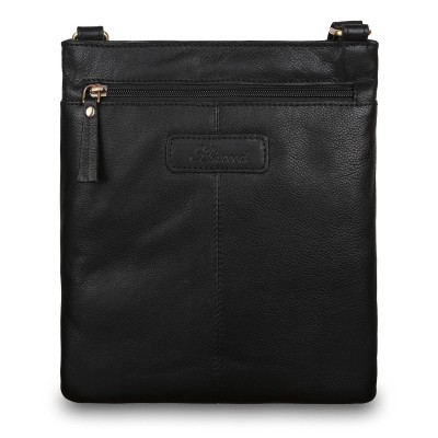 Кожаная мужская сумка через плечо Ashwood Leather M-68 Black