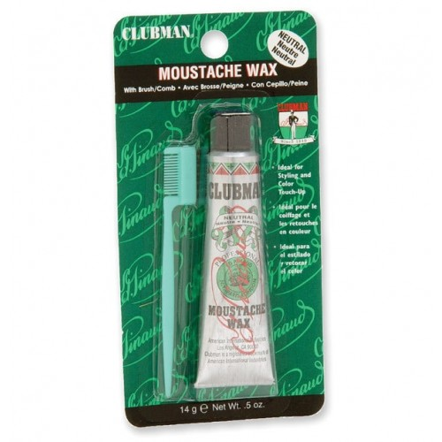 Clubman Moustache Wax Neutral - Воск для укладки и подкрашивания усов и бороды с щеточкой (прозрачный) 15 мл