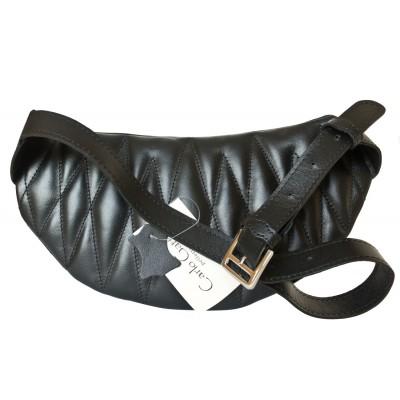 Кожаная поясная сумка Carlo Gattini Molfetta black (арт. 7008-01)
