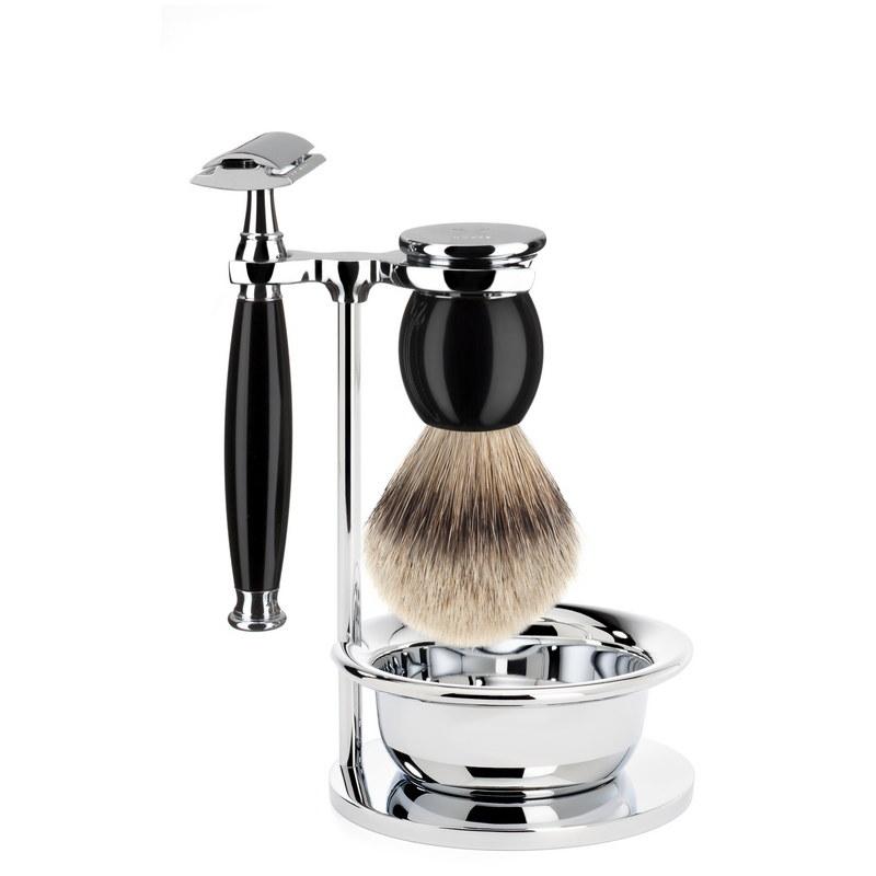 Muehle Sophist - Бритвенный набор черная смола, барсучий ворс высшей категории Silvertip, Т-образная бритва, чаша
