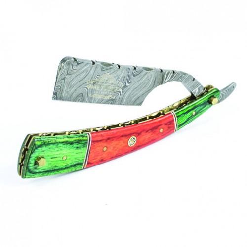 Metzger Orange/Green wood, Damascus steel - Опасная бритва из дамасской стали Dr-14350