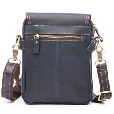 Кожаная мужская сумка через плечо DJO BLUE