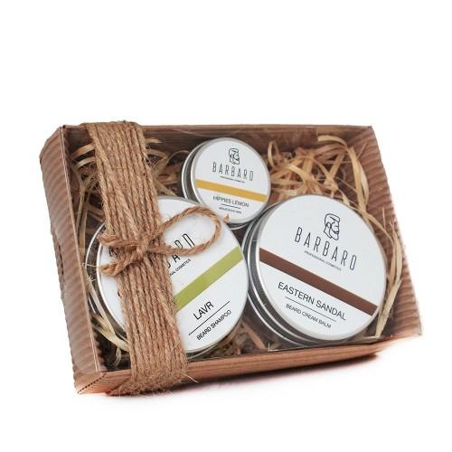 Barbaro Set №6 - Подарочный набор для бородача из воска для усов, крема-бальзама и твердого шампуня для бороды