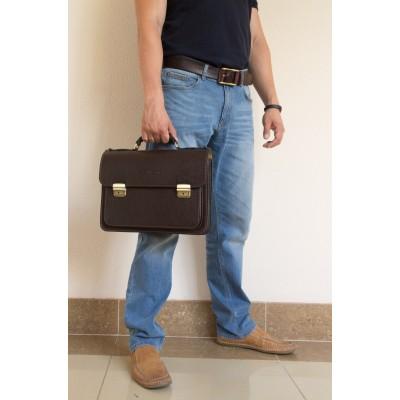 Кожаный портфель мужской Corfino brown (арт. 2008-04)